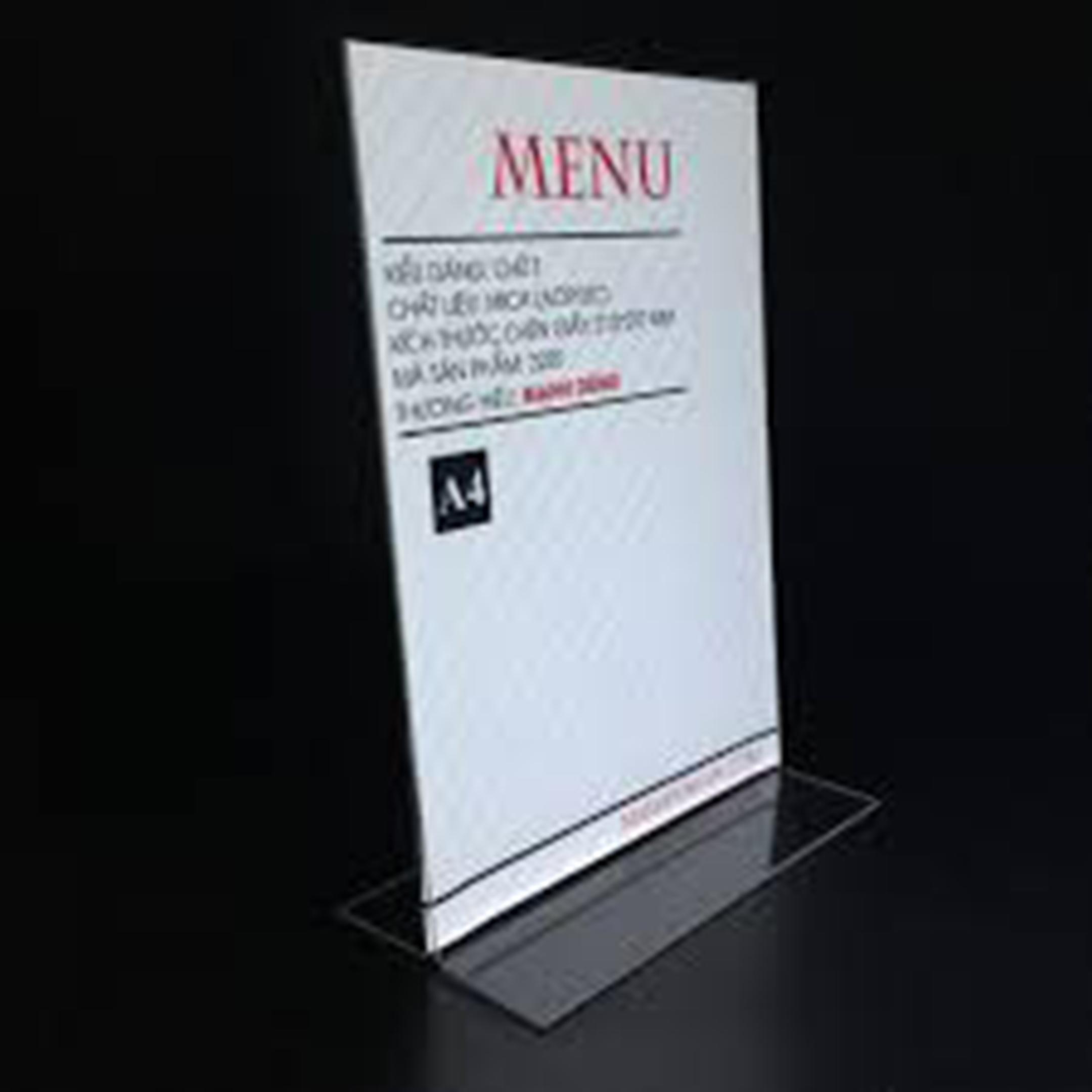 mica menu standee để bàn