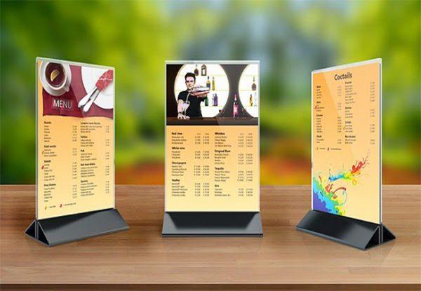 standee menu mica a4